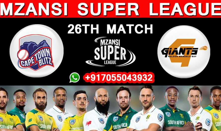 26TH Match MSL 2019, Cape Town Blitz vs Nelson Mandela, Match Prediction & TIPS, CTB VS NM